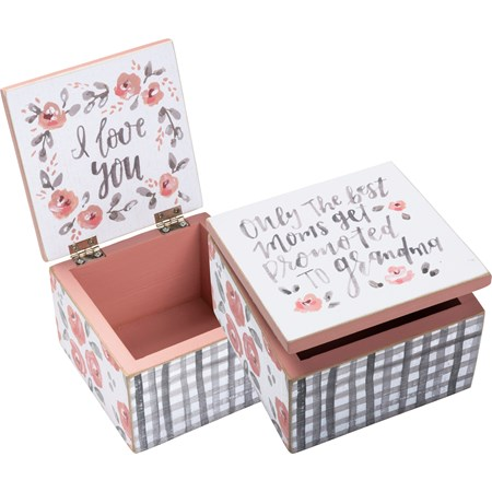 "Hinged Box - Best Moms Get Promoted To Grandma - 4"" x 4"" x 2.75"" - Wood, Paper, Metal"