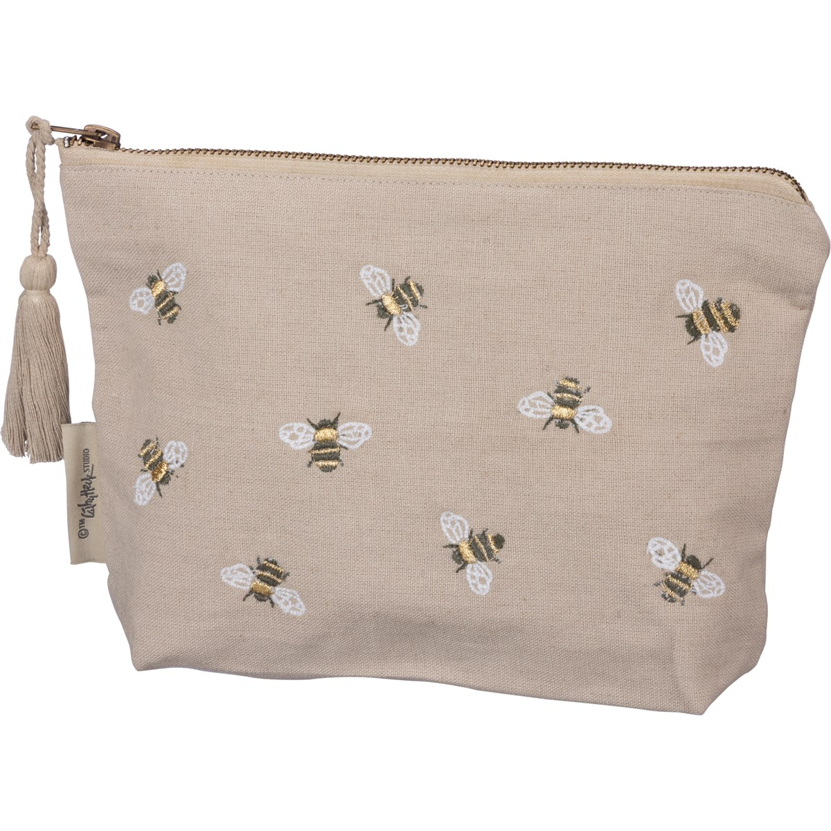"Zipper Pouch - Bee You Tiful - 9.75"" x 6.50"" x 2"" - Cotton, Linen, Metal"