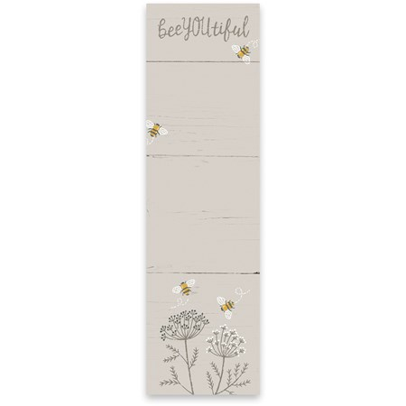 "List Notepad - Bee You Tiful - 2.75"" x 9.50"" x 0.25"" - Paper, Magnet"