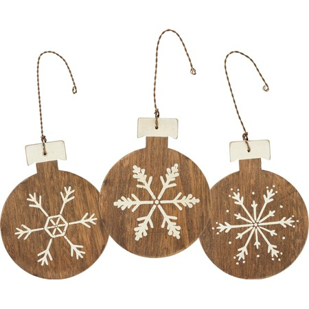 "Ornament Set - Snowflakes - 3"" x 3.75"" - Wood, Wire"