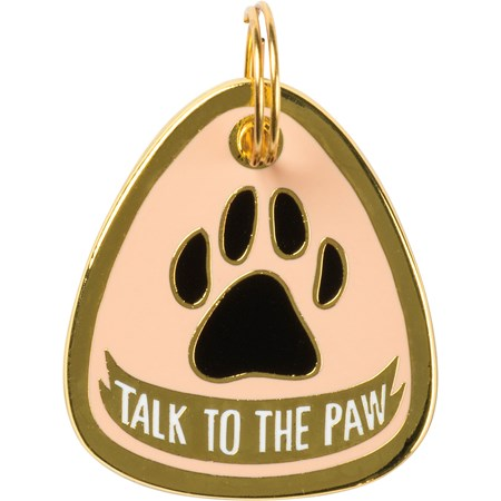 "Collar Charm - Talk To The Paw - Charm: 1"" x 1.25"", Card: 3"" x 5"" - Metal, Enamel, Paper"