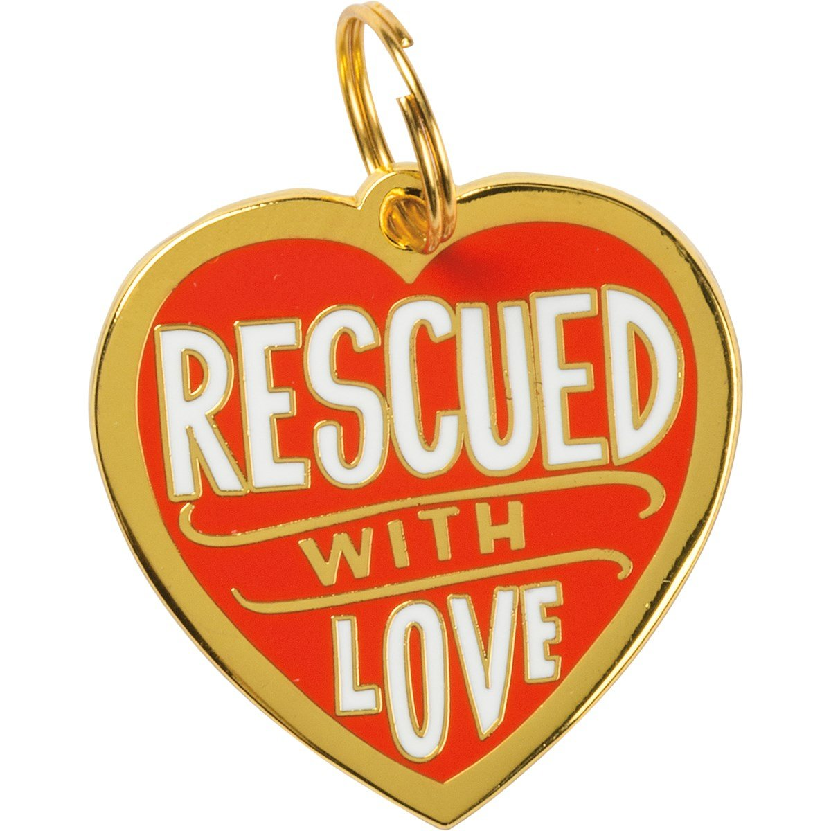 "Collar Charm - Rescued With Love - Charm: 1.25"" x 1.25"", Card: 3"" x 5"" - Metal, Enamel, Paper"