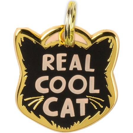 "Collar Charm - Real Cool Cat - Charm: 0.75"" x 0.75"", Card: 3"" x 5"" - Metal, Enamel, Paper"