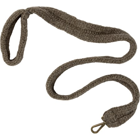 "Dog Leash - Gray Knitted - 48"" x 2"" - Wool, Metal"
