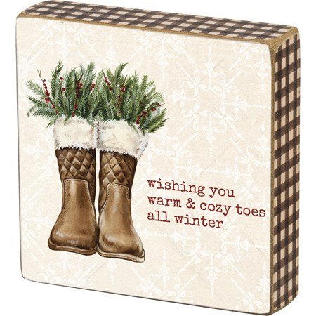 "Block Sign - Wishing Warm & Cozy Toes All Winter - 4"" x 4"" x 1"" - Wood, Paper"