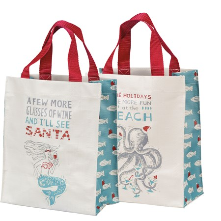 "Daily Tote - More Glasses Of Wine I'll See Santa - 8.75"" x 10.25"" x 4.75"" - Post-Consumer Material, Nylon"