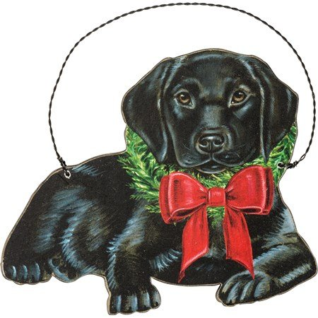 "Ornament - Christmas Black Lab - 5"" x 4.25"" - Wood, Paper, Wire"