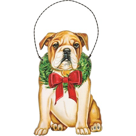 "Ornament - Christmas Bulldog - 3.25"" x 5"" - Wood, Paper, Wire"