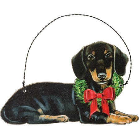 "Ornament - Christmas Dachshund - 5"" x 3"" - Wood, Paper, Wire"