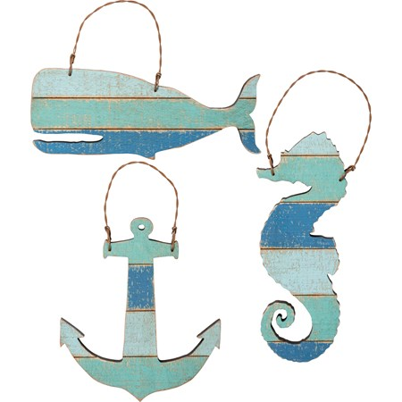"Slat Ornament Set - The Sea - 5"" x 2"", 3.50"" x 4"", 2"" x 5"" - Wood, Wire"