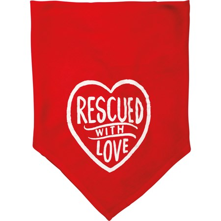 "Sm Pet Bandana - Rescued With Love - 16"" x 16"" - Rayon"