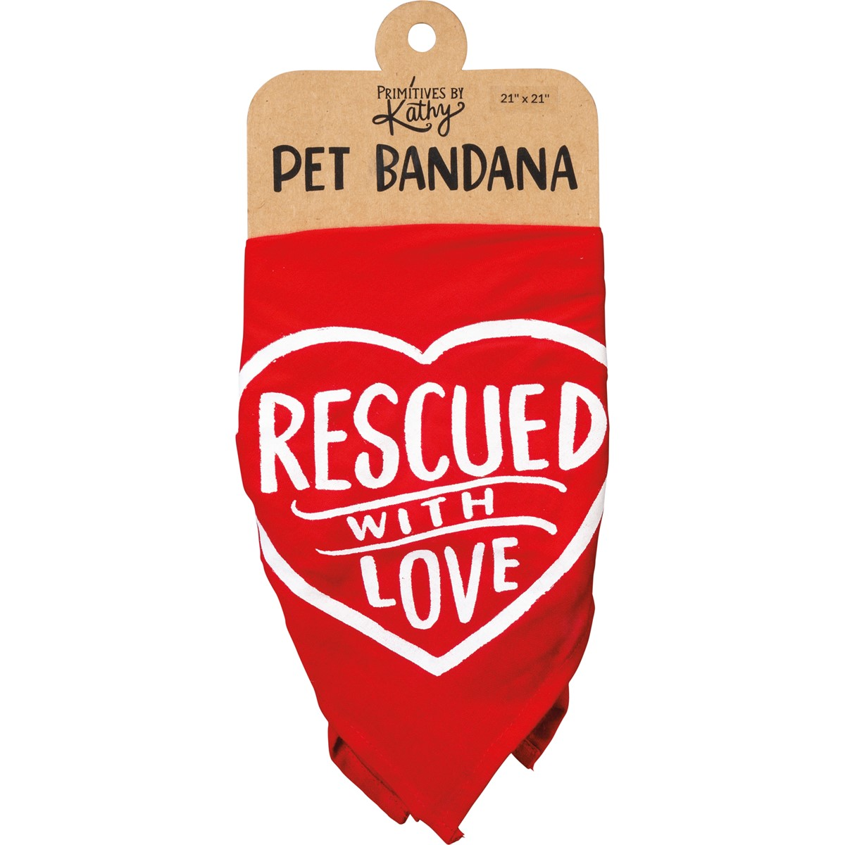 "Pet Bandana Lg - Rescued With Love - 21"" x 21"" - Rayon"