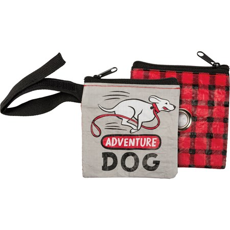 "Pet Waste Bag Pouch - Adventure Dog - 3.50"" x 3.50"" - Post-Consumer Material, Metal, Nylon"