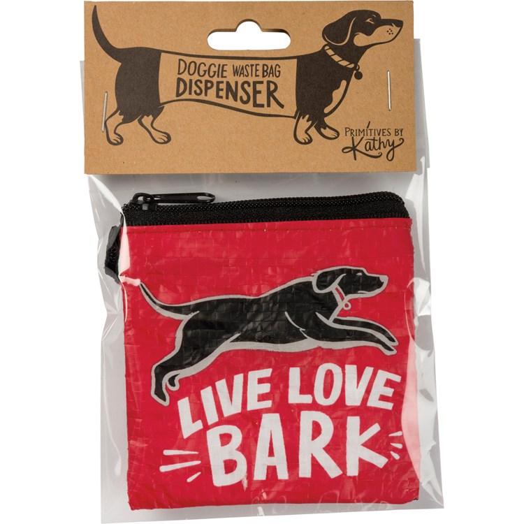 "Pet Waste Bag Pouch - Live Love Bark - 3.50"" x 3.50"" - Post-Consumer Material, Metal, Nylon"