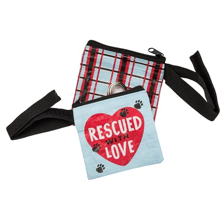 "Pet Waste Bag Pouch - Rescued With Love - 3.50"" x 3.50"" - Post-Consumer Material, Metal, Nylon"