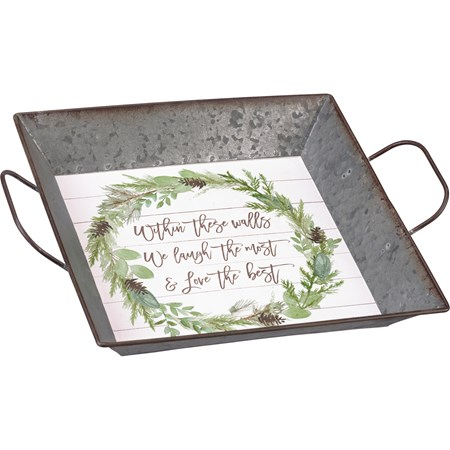 "Tray - Within These Walls We Love The Best - 10.25"" x 10.25"" x 1.50"" - Metal, Paper"