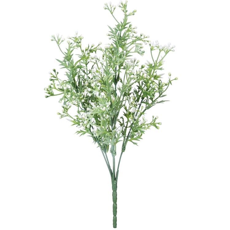 "Pick - White Berries - 14"" Tall - Plastic, Wire"