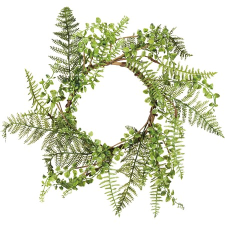 "Wreath - Mixed Greens - 20"" Outside Diameter - Plastic, Wire"