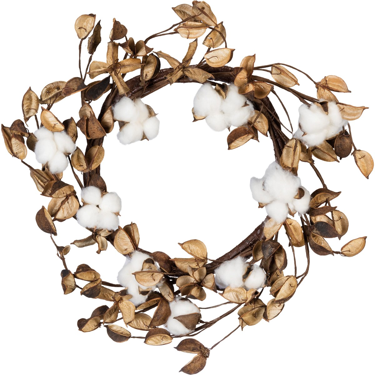 "Wreath - 20"" Cotton - 20"" Diameter - Cotton, Wood, Wire"
