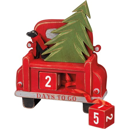 "Block Countdown - Carved Truck - 7.75"" x 9.75"" x 2.25"" - Wood, Ribbon, Fabric"