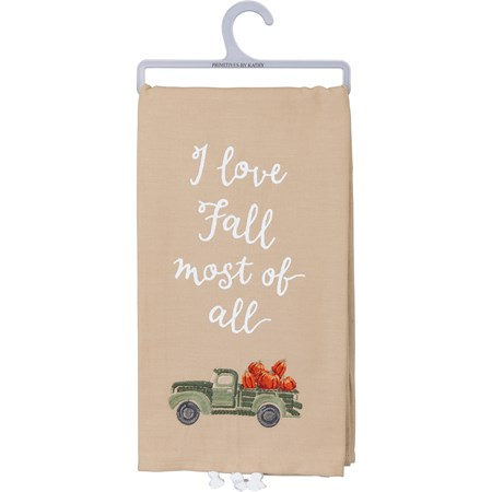 "Dish Towel - I Love Fall Most Of All - 20"" x 26"" - Cotton, Linen"