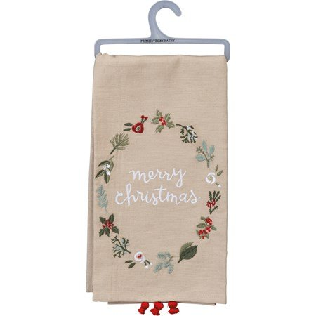 "Dish Towel - Merry Christmas - 20"" x 26"" - Cotton, Linen"