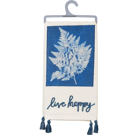 "Dish Towel - Live Happy - 20"" x 26"" - Cotton"