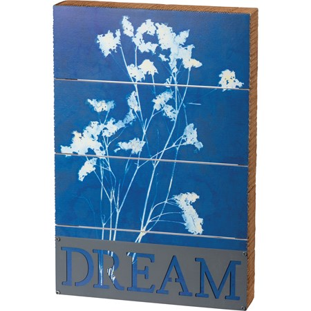 "Slat Box Sign - Dream - 8"" x 12"" x 1.75"" - Wood, Paper, Metal"