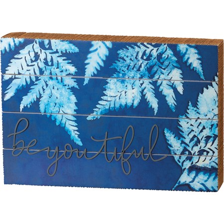 "Slat Box Sign - Beyoutiful - 12"" x 8"" x 1.75"" - Wood, Paper, Metal"