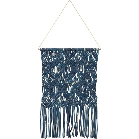 "Macrame - Md Dip-Dye Diamond - 14"" x 24"" - Cotton, Metal"