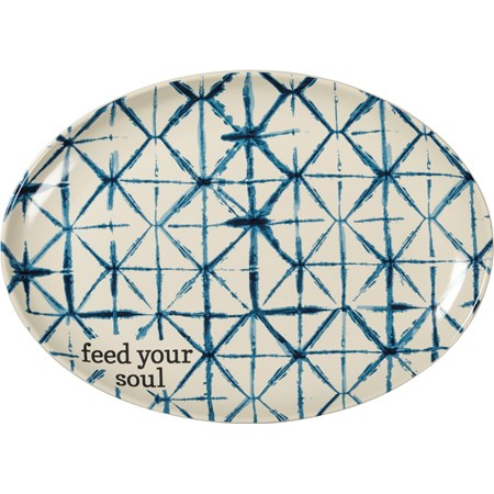 "Platter - Feed Your Soul - 13.50"" x 9.75"" - Stoneware"