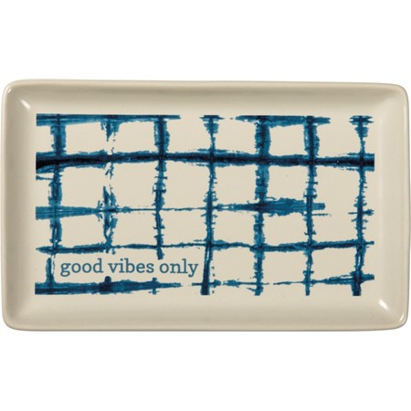 "Trinket Tray - Good Vibes Only - 6.75"" x 4.25"" x 0.75"" - Stoneware"