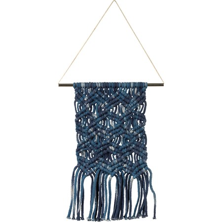 "Macrame - Small Dip Dye Triple - 8"" x 14"" - Cotton, Metal"
