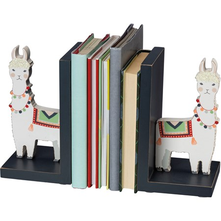 "Bookends - Llama - 4"" x 7"" x 4"" - Wood, Glitter"