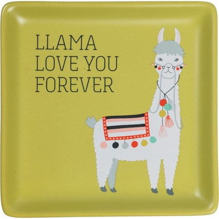 "Trinket Tray - Llama Love You Forever - 4.25"" x 4.25"" x 0.50"" - Stoneware"