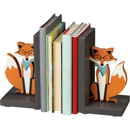 "Bookends - Fox - 4"" x 7"" x 4"" - Wood"