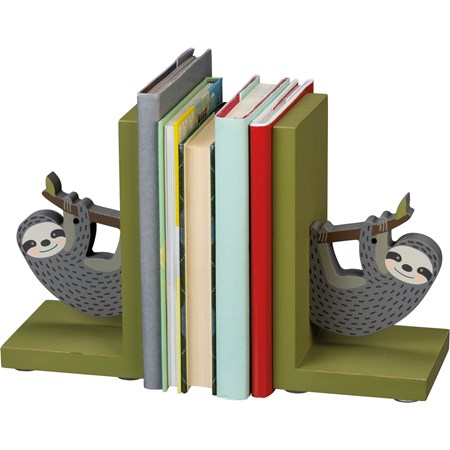 "Bookends - Sloth - 4"" x 7"" x 4"" - Wood"