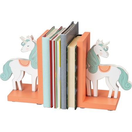 "Bookends - Unicorn - 5.50"" x 7"" x 4"" - Wood, Glitter"