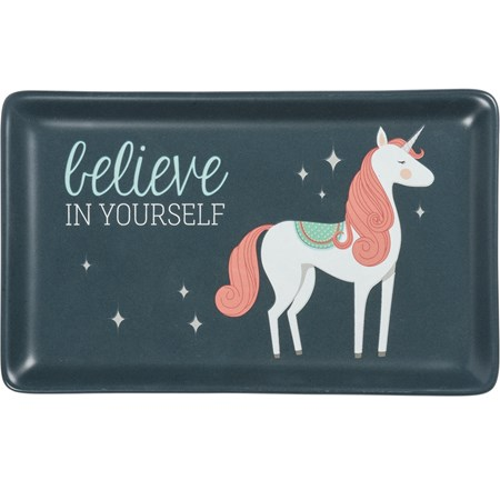 "Trinket Tray - Believe In Yourself - 6.75"" x 4.25"" x 0.75"" - Stoneware"