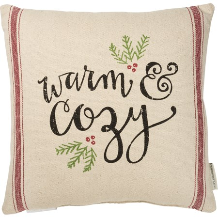 "Pillow - Warm & Cozy - 15"" x 15"" - Cotton, Polyester, Zipper"