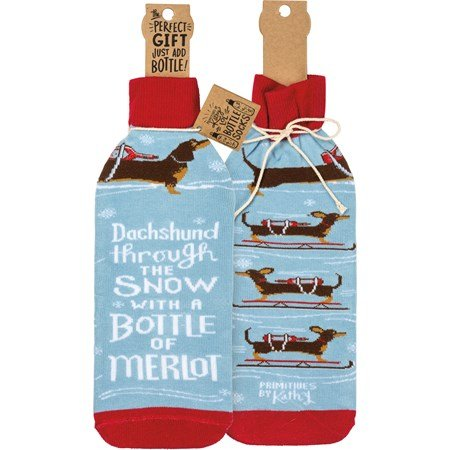 "Bottle Sock - Dachshund Through The Snow  - 3.50"" x 11.25"", Fits 750mL to 1.5L bottles - Cotton, Nylon, Spandex"