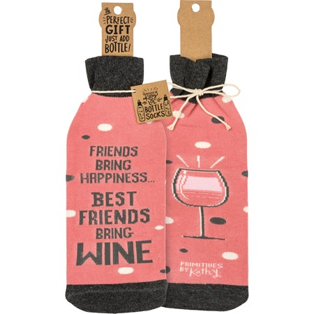 "Bottle Sock - Friends Bring Happiness - 3.50"" x 11.25"", Fits 750mL to 1.5L bottles - Cotton, Nylon, Spandex"