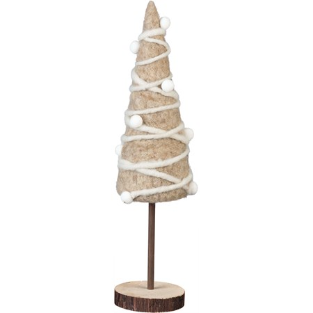"Tree - Sm Gray Christmas - 3.50"" x 14.50"" x 3.50"" - Felt, Wood, Metal"