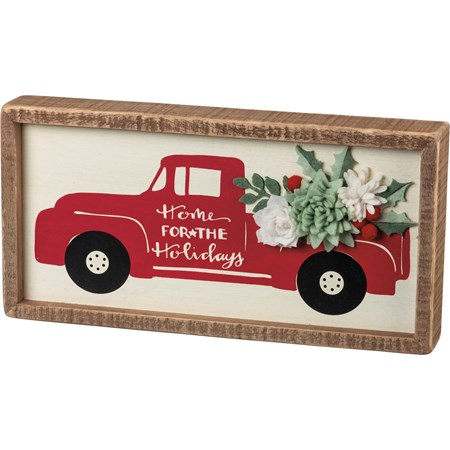 "Inset Box Sign - Home For The Holidays - 12"" x 6"" x 1.75"" - Wood, Felt"