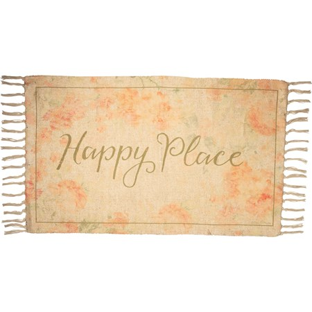 "Rug - Happy Place - 34"" x 20"" - Cotton, Chenille, Polyester"