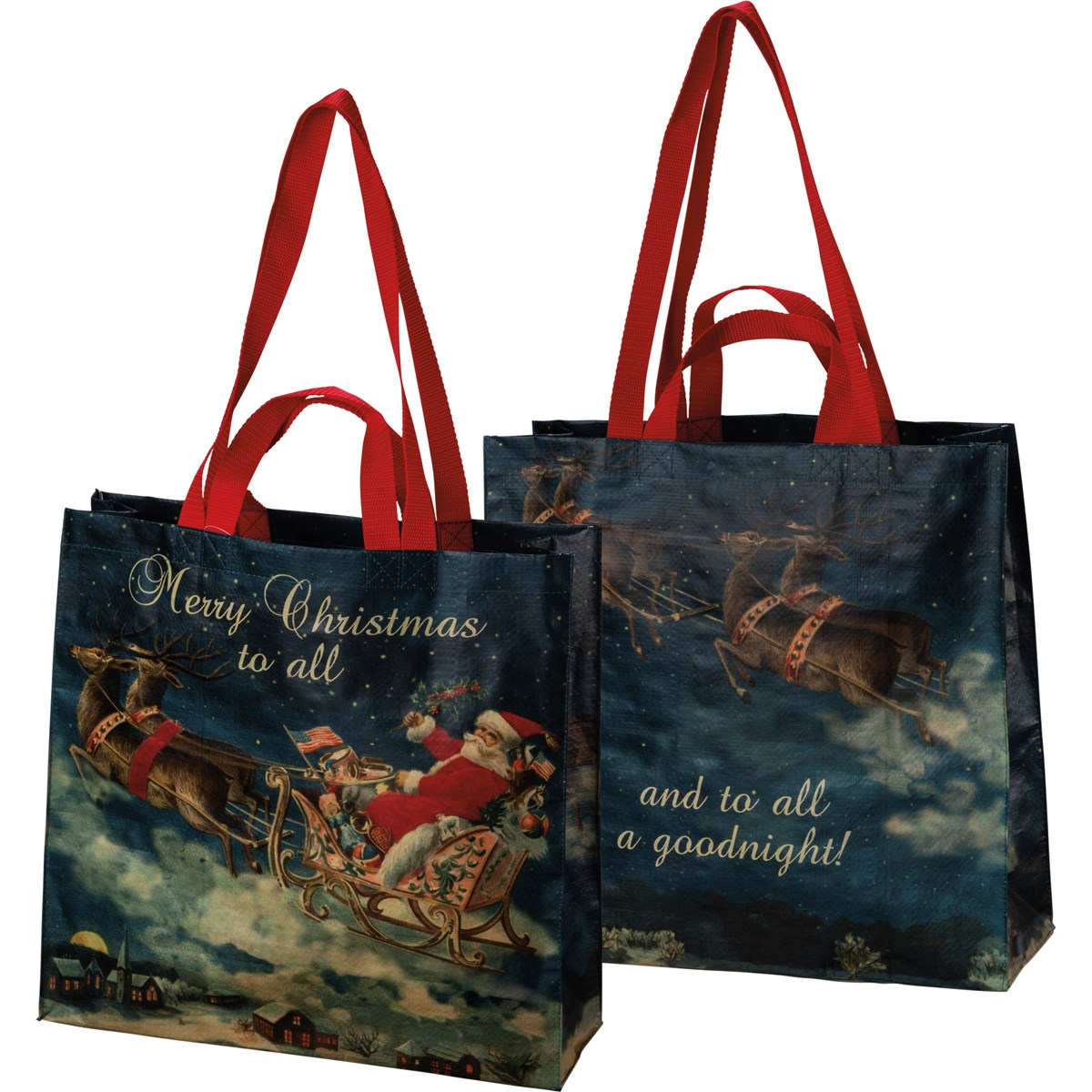 "Market Tote - Merry Christmas To All - 15.50"" x 15.25"" x 6"" - Post-Consumer Material, Nylon"