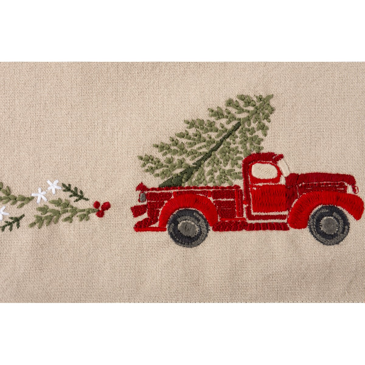 "Runner - Red Truck With Tree - 52"" x 15"" - Cotton, Linen"