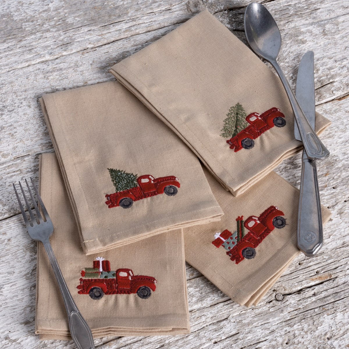 "Napkin Set - Red Truck With Tree - 15"" x 15"" - Cotton, Linen"