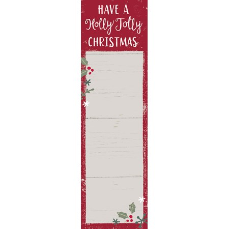 "List Notepad - Have A Holly Jolly Christmas - 2.75"" x 9.50"" x 0.25"" - Paper, Magnet"