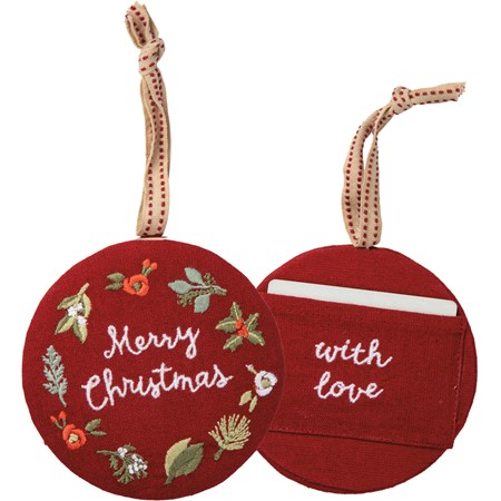 "Ornament - Merry Christmas With Love - 4.50"" Diameter - Cotton, Linen, Fabric"